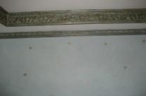 light blue venetian plaster with gold leaf fleur du lil