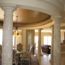 Faux stone columns in New Port Beach house