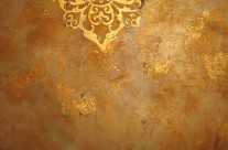 shimmer stone plaster with gold leaf stencil