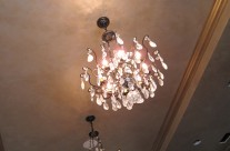 Antique silver finish on ceiling and moldings