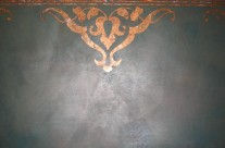 Shimmer Stone with copper leaf stencil