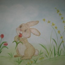 Bunny with red tulip