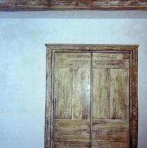 Old wooden door Trompe L'oeil