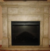 Stone finish fireplace