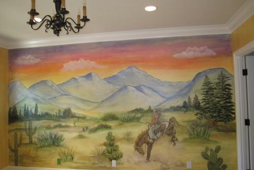 Western sunset mural