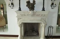 Limestone finish fireplace