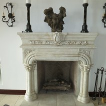 Limestone finish fireplace